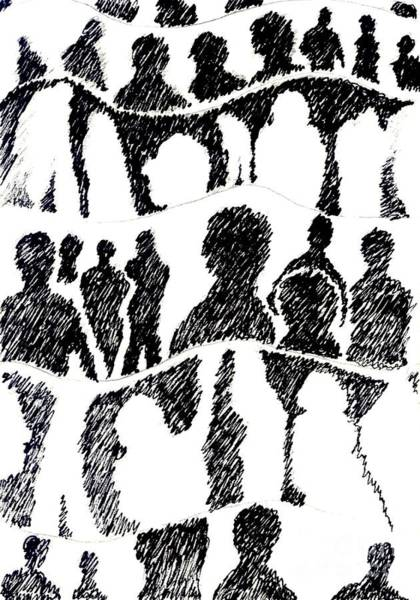 Drawing - Silhouettes 1 by Helena Tiainen