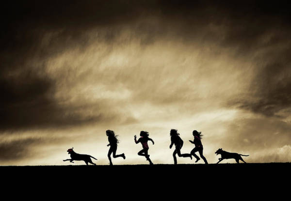 Silhouettes Of Running Girls And Dogs  Art Print