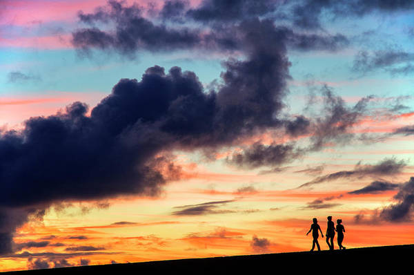 Jardin Photograph - Silhouettes Of Three Girls Walking In The Sunset by Fabrizio Troiani