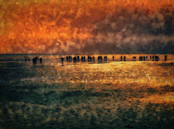 Digital Art - Silhouettes On The Shore by Leigh Kemp