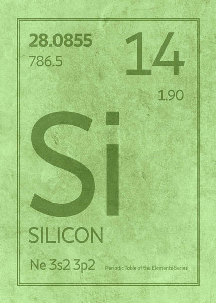 Elements Mixed Media - Silicon Element Symbol Periodic Table Series 014 by Design Turnpike