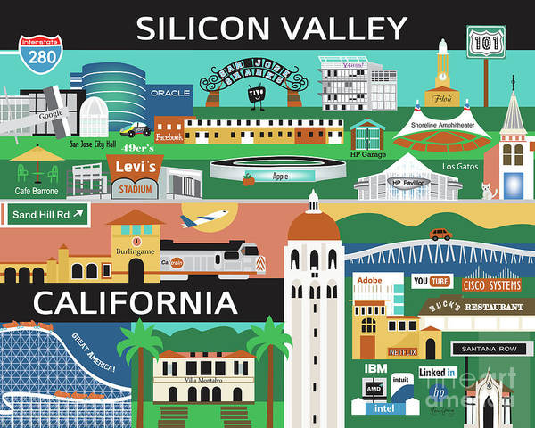Silicon Valley Wall Art - Digital Art - Silicon Valley California Horizontal Scene - Collage by Karen Young
