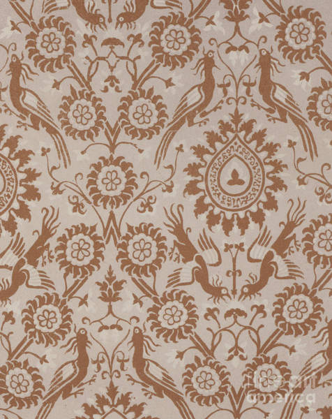 Wall Art - Tapestry - Textile - Silk Damask Design, Italian, 14th Century by Italian School