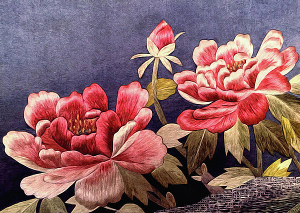 Art Print featuring the tapestry - textile Silk Peonies - Kimono Series by Susan Maxwell Schmidt