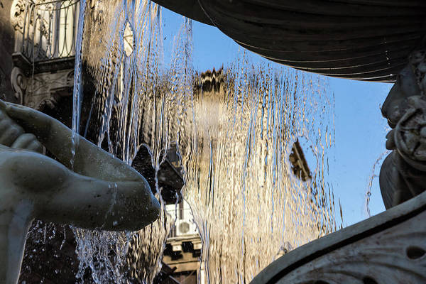 Photograph - Silken Fountain Curtain - Fontana Dell Amenano In Catania Sicily by Georgia Mizuleva