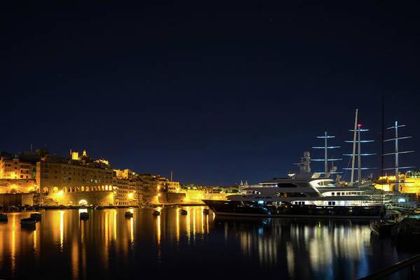 Photograph - Silky And Sleek - Luxury Superyachts In Malta Grand Harbour by Georgia Mizuleva