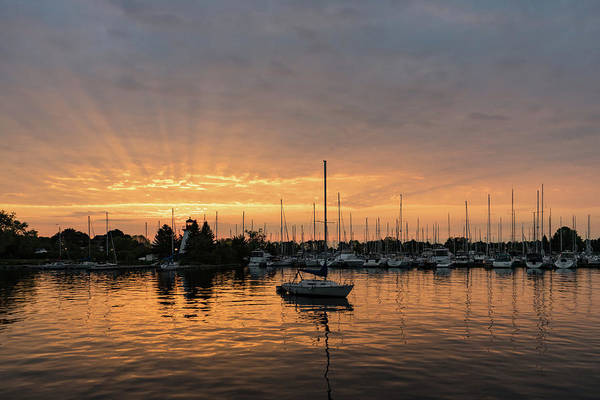 Photograph - Silky Sunrays Sailboat - A Gorgeous Sunrise At A Marina by Georgia Mizuleva