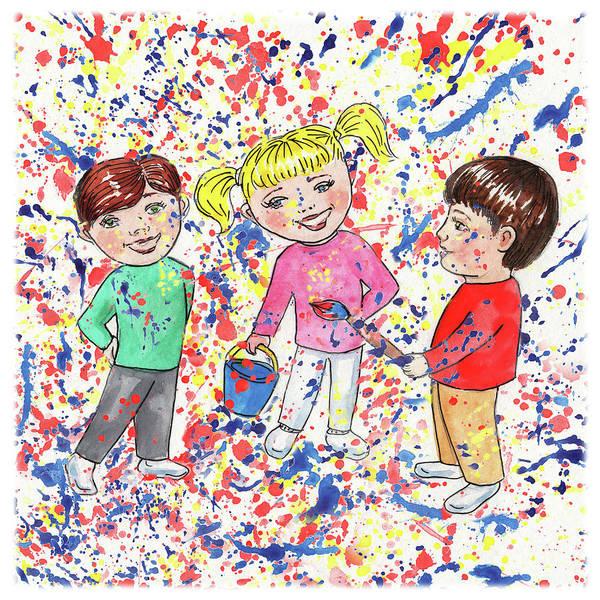Fresh Paint Painting - Silly Silly Kids by Irina Sztukowski