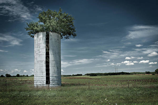 Photograph - Silo With Tree by Bud Simpson