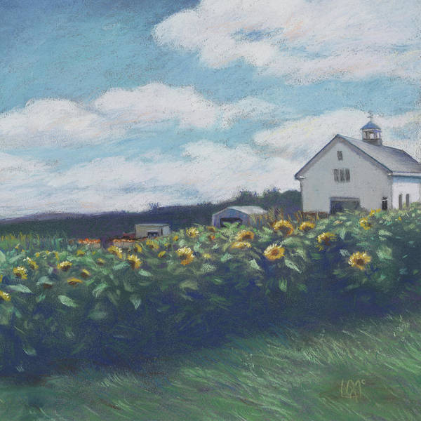 Wall Art - Painting - Silsby Farm Sunflowers by Leslie Alfred McGrath