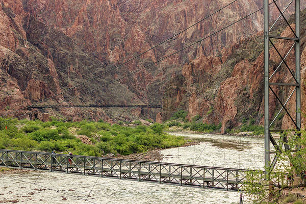 Photograph - Silver And Black Bridges Over The Colorado, Grand Canyon by Pete Hendley