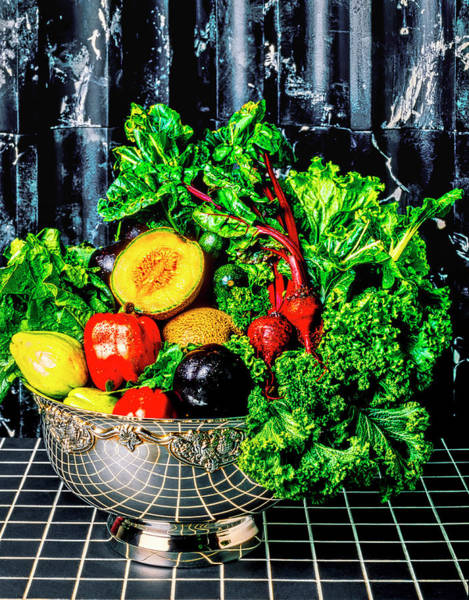 Wall Art - Photograph - Silver Bowl Full Of Vegetables by Garry Gay