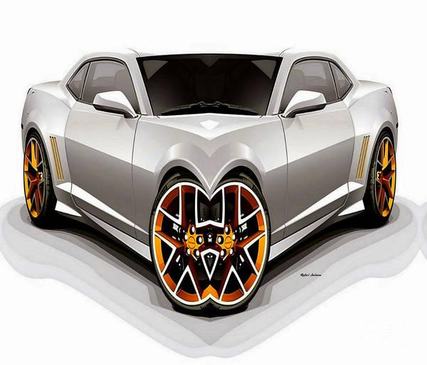 Digital Art - Silver Car 008 by Rafael Salazar