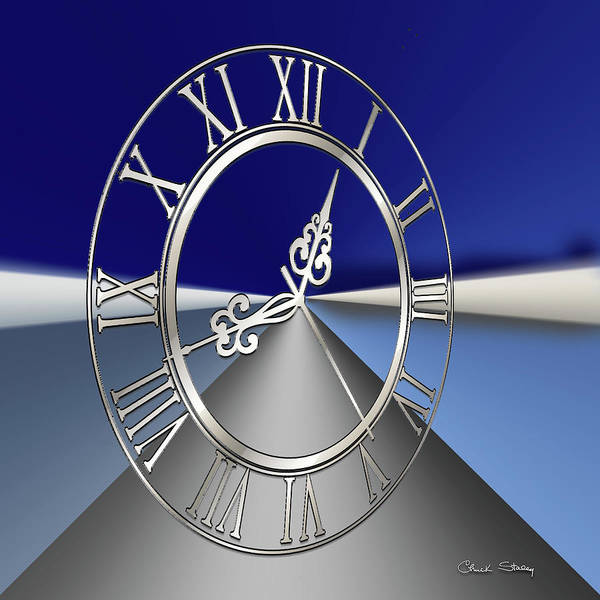 Digital Art - Silver Clock 3 D by Chuck Staley