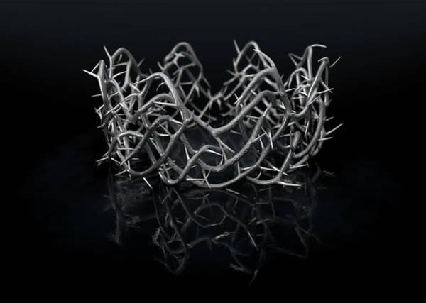 Crucifixion Digital Art - Silver Crown Of Thorns by Allan Swart