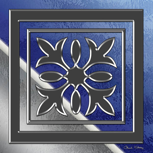 Digital Art - Silver Design 22 On Glass by Chuck Staley