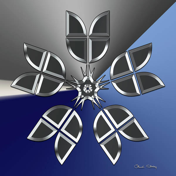Digital Art - Silver Design 4 by Chuck Staley