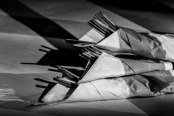 Photograph - Silver Dinnerware With Napkins by Randall Nyhof
