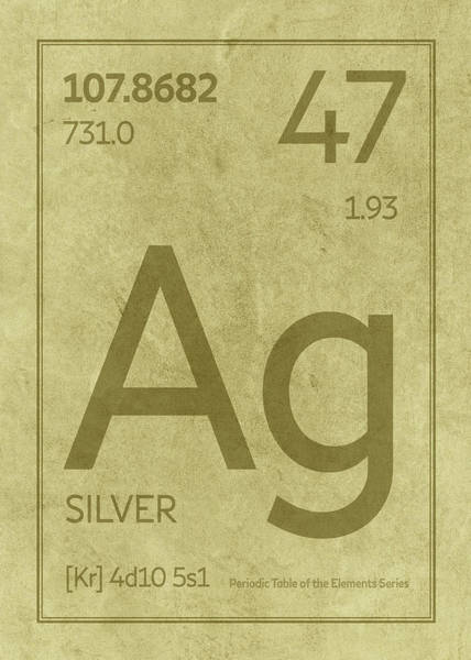 Elements Mixed Media - Silver Element Symbol Periodic Table Series 047 by Design Turnpike