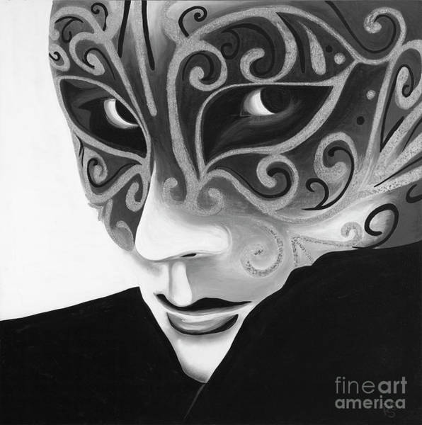 Painting - Silver Flair Mask - Bw by Patty Vicknair