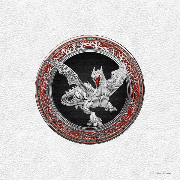 Digital Art - Silver Guardian Dragon Over White Leather by Serge Averbukh