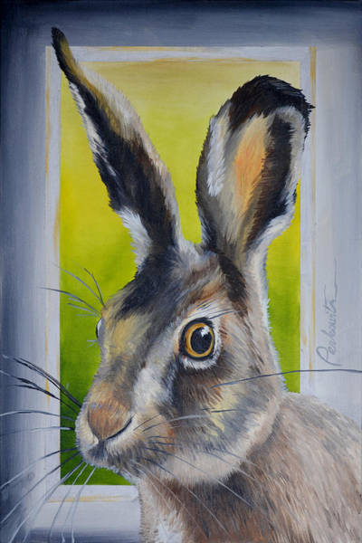 Wild Rabbit Painting - Silver Hare by Tom Perkowitz
