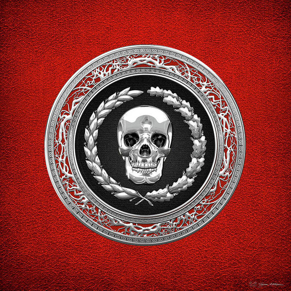 Digital Art - Silver Human Skull Over Red Leather  by Serge Averbukh