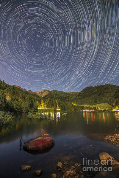 Photograph - Silver Lake Flat Star Trails by Spencer Baugh