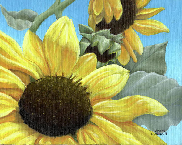 Painting - Silver Leaf Sunflower Growing To The Sun by Adam Johnson