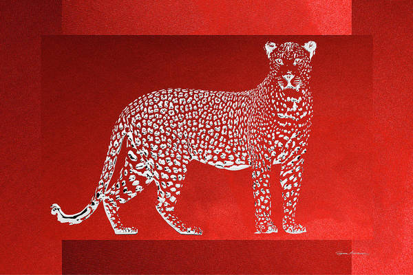 Digital Art - Silver Leopard On Red Canvas by Serge Averbukh