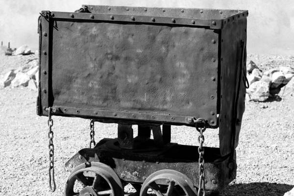 Photograph - Silver Mine Cart Black And White by Colleen Cornelius