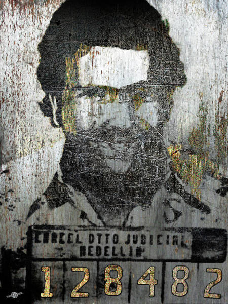 Painting - Silver Pablo Escobar Mug Shot 1991 Abstract by Tony Rubino