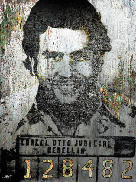 Wall Art - Mixed Media - Silver Pablo Escobar Mug Shot 1991 by Tony Rubino