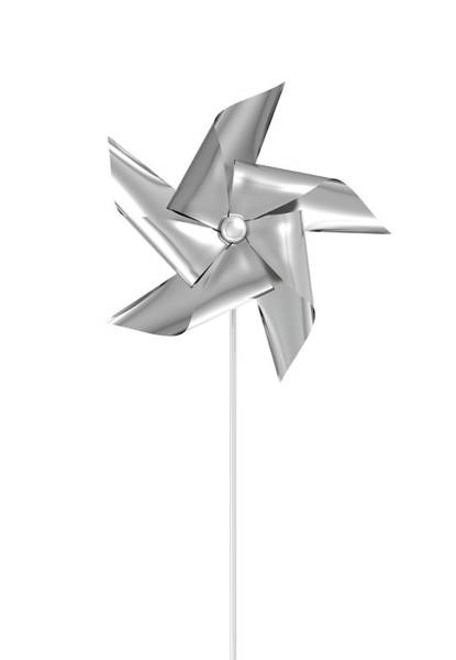 Rotating Digital Art - Silver Pinwheel by Allan Swart