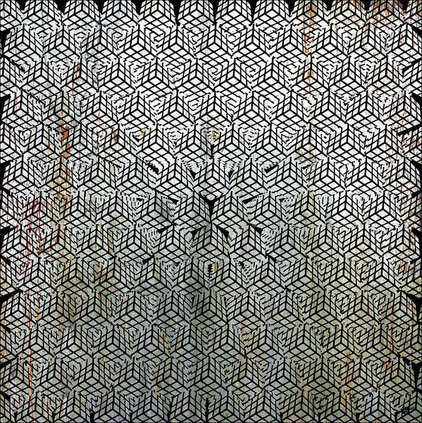 Mixed Media - Silver Rubik's Cube Abstract Black And White 1 by Tony Rubino