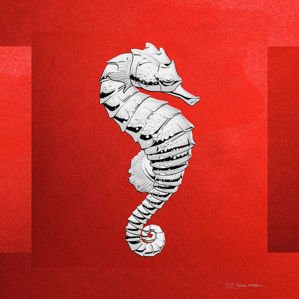 Digital Art - Silver Seahorse On Red Canvas by Serge Averbukh