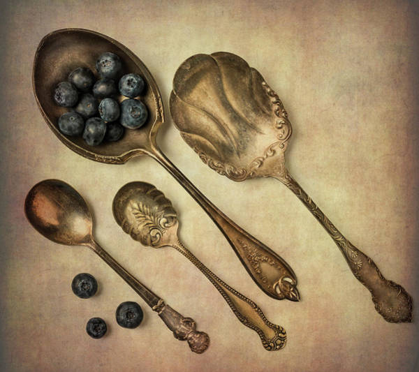 Blue Berry Photograph - Silver Spoons And Blueberries by Garry Gay