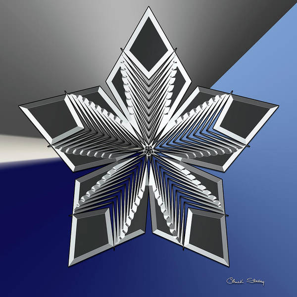 Digital Art - Silver Star 2 by Chuck Staley