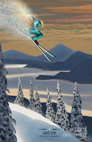 Retro Painting - Silver Star Ski Poster by Sassan Filsoof