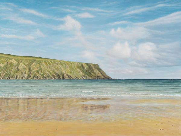 Donegal Painting - Silver Strand With Boy by Teresa Moran