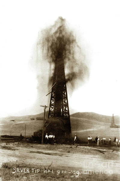 Photograph - Silver Tip Oil Wel  Just Outside Of Coalinga, Californial Sept, 22, 1909 by California Views Archives Mr Pat Hathaway Archives