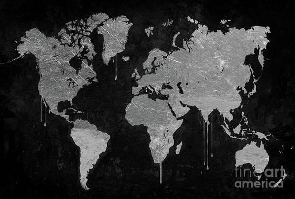 Wall Art - Painting - Silver World Map by Mindy Sommers