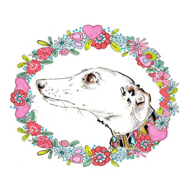 Ring Painting - Silvertips Greyhound With Floral Border  by Jo Chambers