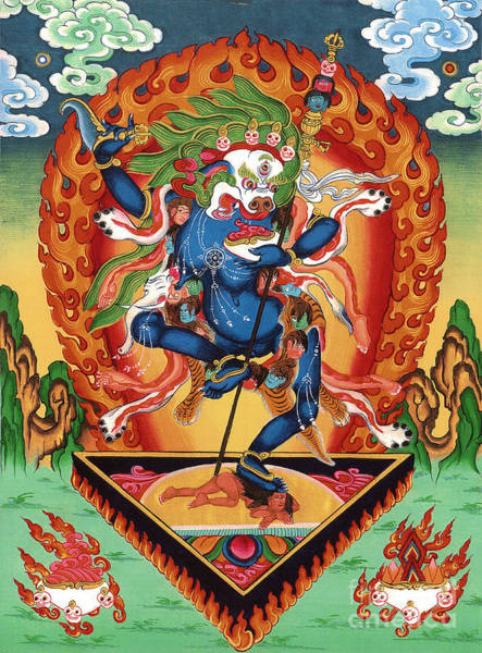 Tibetan Wall Art - Painting - Simhamukha - Lion Face Dakini by Sergey Noskov