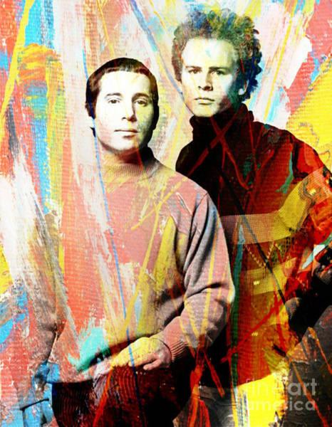 Simon And Garfunkel Painting - Simon And Garfunkel Color Art Poster by Pd