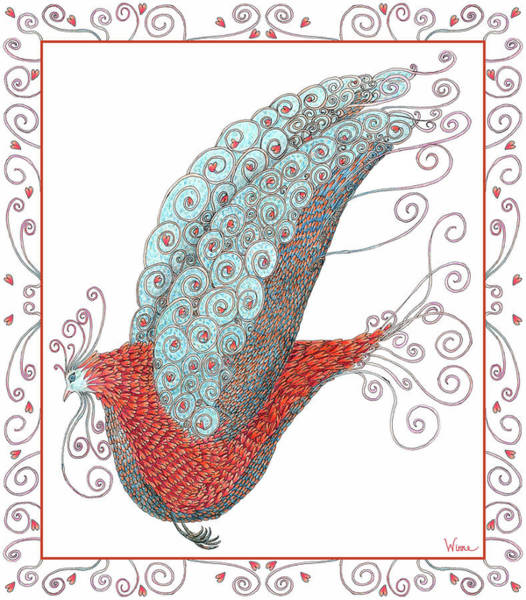 Mixed Media - Simon Lovey The Exotic Bird With Border by Lise Winne