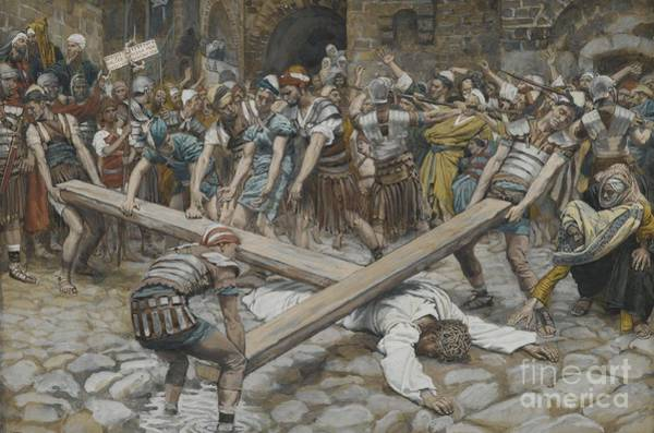 Wall Art - Painting - Simon The Cyrenian Compelled To Carry The Cross With Jesus by Tissot