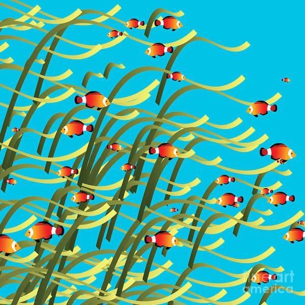 Seaweed Digital Art - Simple Underwater Scene by Gaspar Avila