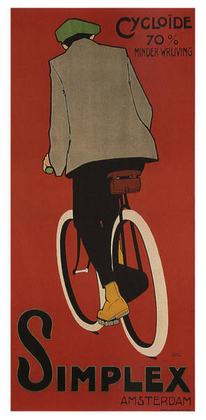 Wall Art - Mixed Media - Simplex - Bicycle - Amsterdam - Vintage Advertising Poster by Studio Grafiikka