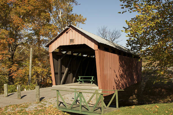 Photograph - Simpson Creek Or Hollen Mill Covered Bridge by Jack R Perry